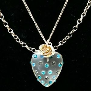 Betsey Johnson CLEAR HEART PENDANT NECKLACE